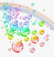 colored bubbles with rainbow