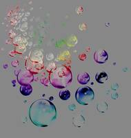 colored bubbles outline on gray