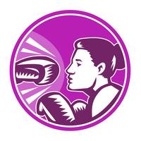Female Boxer Punch Retro