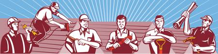 Construction Workers Tradesman Retro