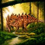 """Stegosaurus & mate in forest"" by PhilWilson"