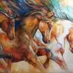 """WILD TRIO RUN MUSTANGS"" by MBaldwinFineArt2006"
