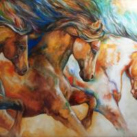 WILD TRIO RUN MUSTANGS by Marcia Baldwin