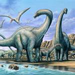 """Apatosaurus group on beach"" by PhilWilson"
