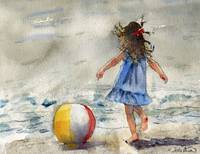 Beach Girl, watercolor landscape painting