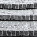 """Brick Steps in Black and White"" by NatalieKinnear"