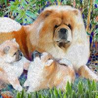 ANN RATHMEL- COMMISSION MOM AND PUPS Art Prints & Posters by GRAFFITIMAGERY Sandra