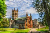 A view of Buckfast Abbey in Devon, England