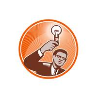 Businessman Holding Lightbulb Woodcut