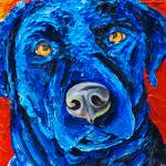 """Black Lab in Blue"" by Rmbartstudio"
