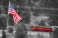 Cyrus K. Holliday Rail Car and USA Flag BWSC