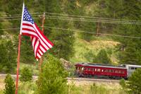 Cyrus K. Holliday Rail Car and USA Flag