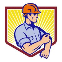 Construction Worker Rolling Up Sleeve Retro