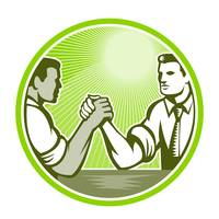 Businessman Office Worker Arm Wrestling
