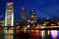 Singapore River Night, Urban Landscape