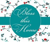 bless this home teal and red