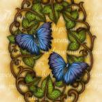 """Oval Ivy border with Butterflies"" by TASillustrations"