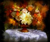 Autumn leaves and Flowers still life