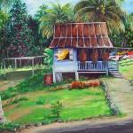 """004little blue house oil  enh"" by cassiakdkb"