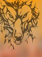Tribal Wolf on Orange