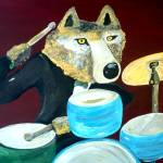 """Dire Wolf Playing the Drums"" by Polylerus"