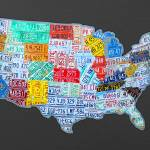 """massive_usa_license_plate_map_on_gray"" by designturnpike"