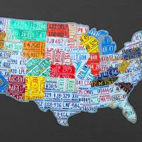 massive_usa_license_plate_map_on_gray Art Prints & Posters by Design Turnpike