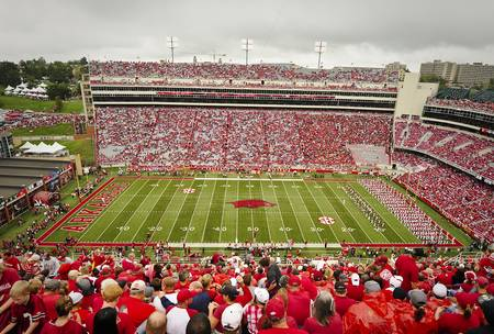 Example of Arkansas stadium in perspective on angled canvas