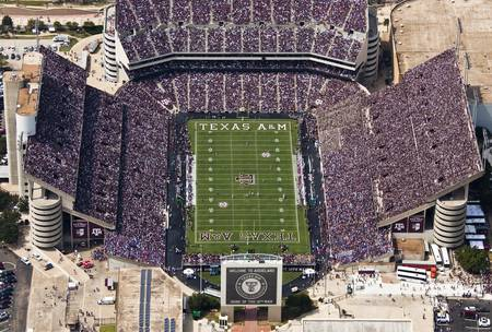 Example of Texas A&M stadium in perspective on angled canvas