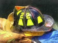 Fireman's Helmet on Uniform
