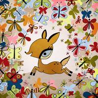 fawn and butterflies