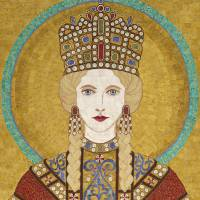 Empress Irene of Byzantiumm- fabric mosaic Art Prints & Posters by Kerri Jones