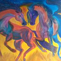 Two horses dancing Art Prints & Posters by candra conner