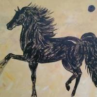 Black horse black moon Art Prints & Posters by candra conner