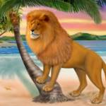 """LION ON BEACH"" by HolbrookArt"