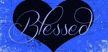 blessed heart blue sparkle