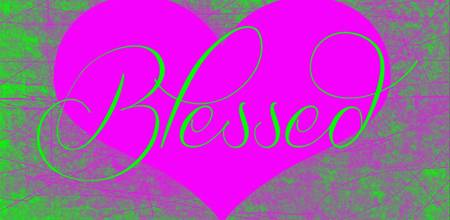 blessed heart purple green