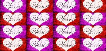 blessed heart red purple checker