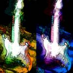"""""""Neon Guitar WaterPaper Collage"""" by brookelundy"""