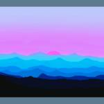 """Abstract Decorative Misty Blue Mtn Sunrise w/ Bord"" by TheNorthernTerritory"