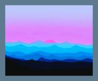Abstract Decorative Misty Blue Mtn Sunrise w/ Bord