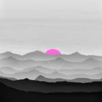 """""""Abstract Decorative Misty Blue Mtn Sunrise B&W Pin"""" by TheNorthernTerritory"""