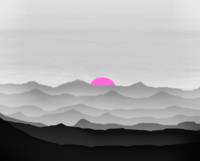 Abstract Decorative Misty Blue Mtn Sunrise B&W Pin