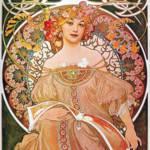 """Alphonse Mucha Daydream Reverie Art Nouveau Lady"" by masterpiecesofart"