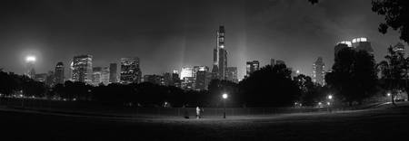 Sheep's meadow panorama B&W