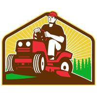Gardener Landscaper Ride On Lawn Mower Retro