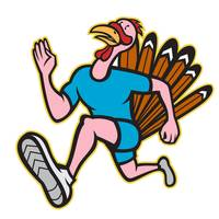 Turkey Run Runner Side Cartoon Isolated