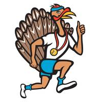 Turkey Run Runner Thumb Up Cartoon