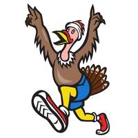 Turkey Run Runner Cartoon Isolated