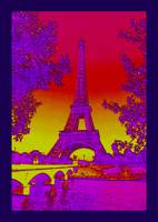 Eiffel Tower Paris France Enhanced 3 indigo border